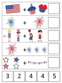 4th of July themed Math Addition preschool printable math activity.