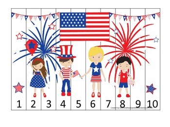4th of July themed Number Sequence Puzzle 1-10 preschool learning activity. Dayc