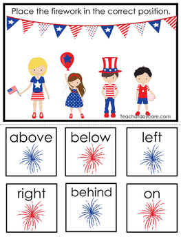 4th of July themed Positional Game.  Printable Preschool Curriculum Game