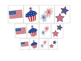 4th of July themed Size Sorting preschool printable curriculum activity.