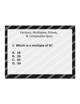 4th or 5th Grade ActivInspire 5 question assessment 4.OA.B.4 / 4.OA.4