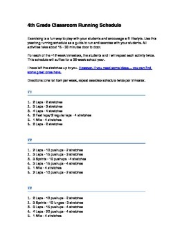 4th or 5th Grade Running and Exercise Schedule