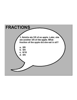 4th/5th Grade ActivInspire 10 question assessment (Fractions) .NF.A.1, 2 + more