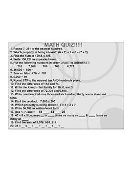 4th/5th Grade ActivInspire 20 question quiz - Place Value 4.NBT.A.2, 3 + more