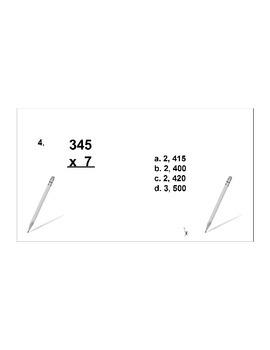 4th/5th Grade ActivInspire 5 question assessment 4.NBT.B.5 (Multiplication)