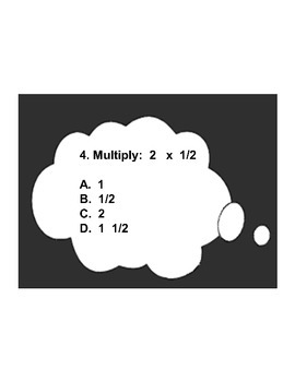4th/5th Grade ActivInspire 5 question assessment 4.NF.B.4 (Multiply Fractions)
