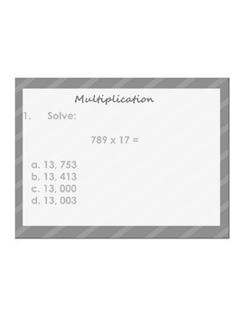 4th/5th Grade ActivInspire 5 question assessment 5.NBT.B.5 (Multiplication) 2