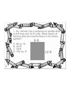 4th/5th Grade ActivInspire 6 question assessment Area/Perimeter 4.MD.A.3