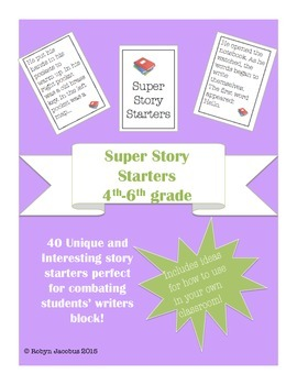 4th/5th/6th grade ELA Super Story Starters Writing Card Deck