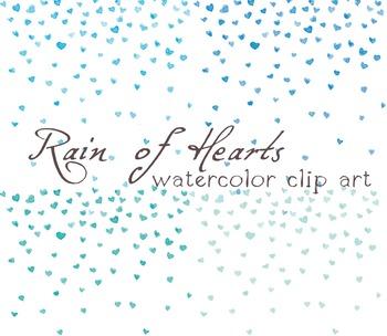 4x Digital Clipart ,Watercolor Hearts, Rainf of Hearts, Confetti