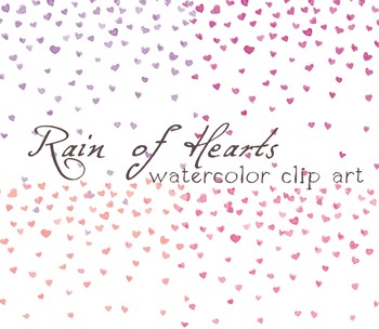 4x Digital Clipart ,Watercolor Hearts, Rainf of Hearts, Confetti