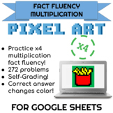 4x Multiplication Pixel Art! Digital Practice for Math Facts with Secret Reveal!