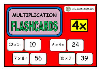 4x Times Table Flashcards