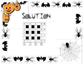 4x4 Intermediate Halloween Math Square