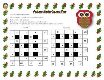 Thanksgiving/Autumn Theme ~ 4x4 Intermediate Math Square Pair