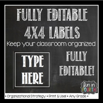 Editable Chalkboard Themed 4x4 Labels