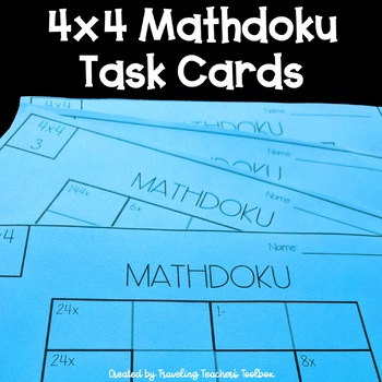 image regarding Kenken Printable titled 4x4 Kenken Math Puzzles Activity Playing cards