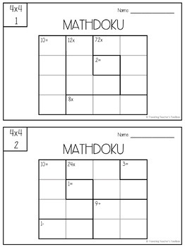 4x4 Mathdoku Math Puzzles Task Cards Distance Learning