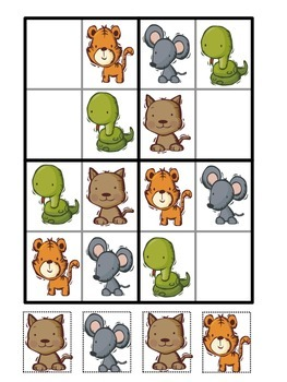 4x4 Sudoku Animal Pictures