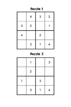 4x4 Sudoku Puzzles Teaching Kit