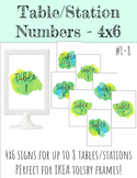 4x6 Table/Station Signs - Lime & Aqua Watercolor Splashes