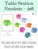 4x6 Table/Station Signs - Multicolor Watercolor Splashes