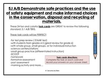 5.1A/B: Safe practices and Recycling {STAAR test prep}