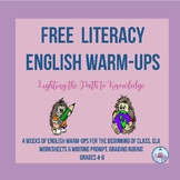 FREE...Literacy Activity(English Warm-Ups)