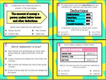 5.10B (DECK 2): Gross & Net Income STAAR Test Prep Task Cards!