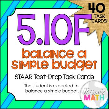 5.10F: Balancing A Simple Budget STAAR Test-Prep Task Cards (GRADE 5)