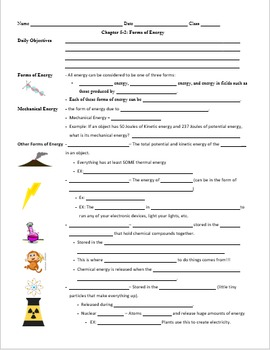 Bundled 5.2 Forms of Energy Powerpoint and Guided Notes