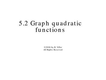 5-2 Graph quadratic functions