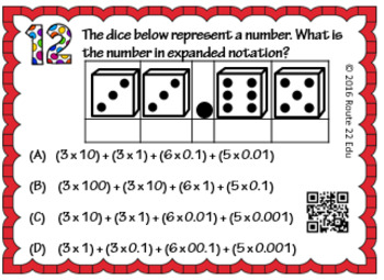 5.2A Expanded Notation Task Cards TEKS 5.2A
