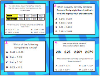 5.2B (DECK 2): Compare & Order Decimals STAAR Test Prep Task Cards!