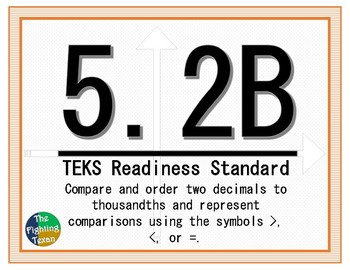 5.2B TEKS: Compare Number Math Task Cards