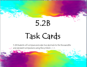 5.2B Task Cards Comparing and Ordering Decimals