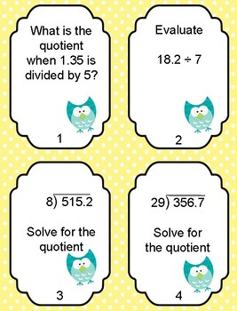 5.3F and 5.3G Representing and Solving Quotients of Decimals