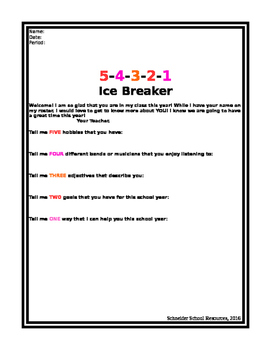 5-4-3-2-1 Ice Breaker