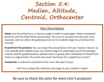 5.4 Median, Altitude, Centroid w/Notes, PPT, and Homework (Geometry Lesson)