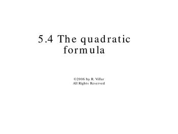 5-4 The quadratic formula