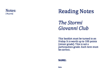 5.4 Week 4 The Stormi Giovanni Club Reading Street Reading Notes Booklet