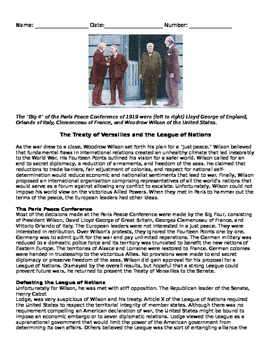 5.45 The Treaty of Versailles and League of Nations