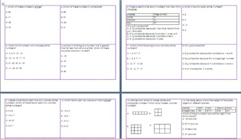 5.4A Task Cards Prime and Composite Numbers