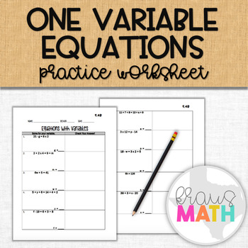 Solving One-Variable Equations Practice