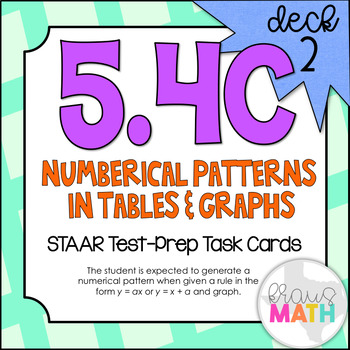 5.4C (DECK 2): Patterns in Tables STAAR Test Prep Task Cards! (GRADE 5)