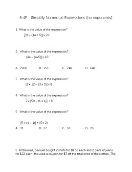 5.4F Simplifying Numerical Expressions
