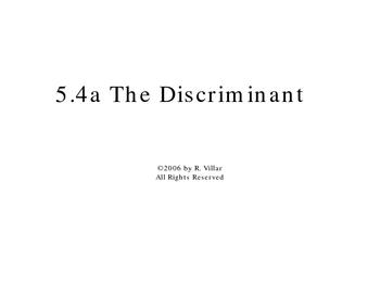 5-4a The discriminant