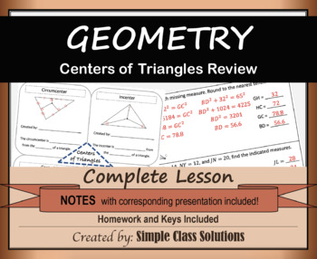5.5 Centers of Triangles Review w/Notes, PPT, and Homework (Geometry Lesson)