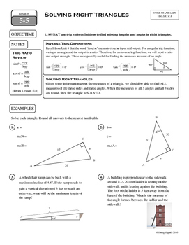 5-5 Solving Right Triangles