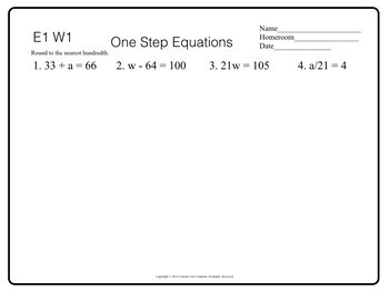 5-6 Grade 1-Step Equations Morning Work Back to School